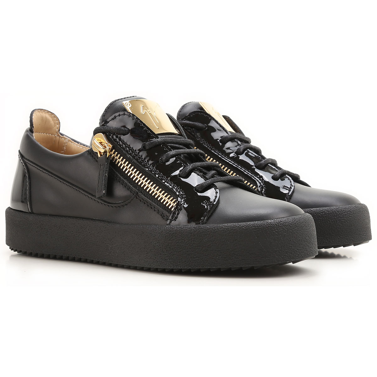 Giuseppe Zanotti Design Sneakers for Women On Sale in Outlet, Black, Leather, 2019, 5 5.5