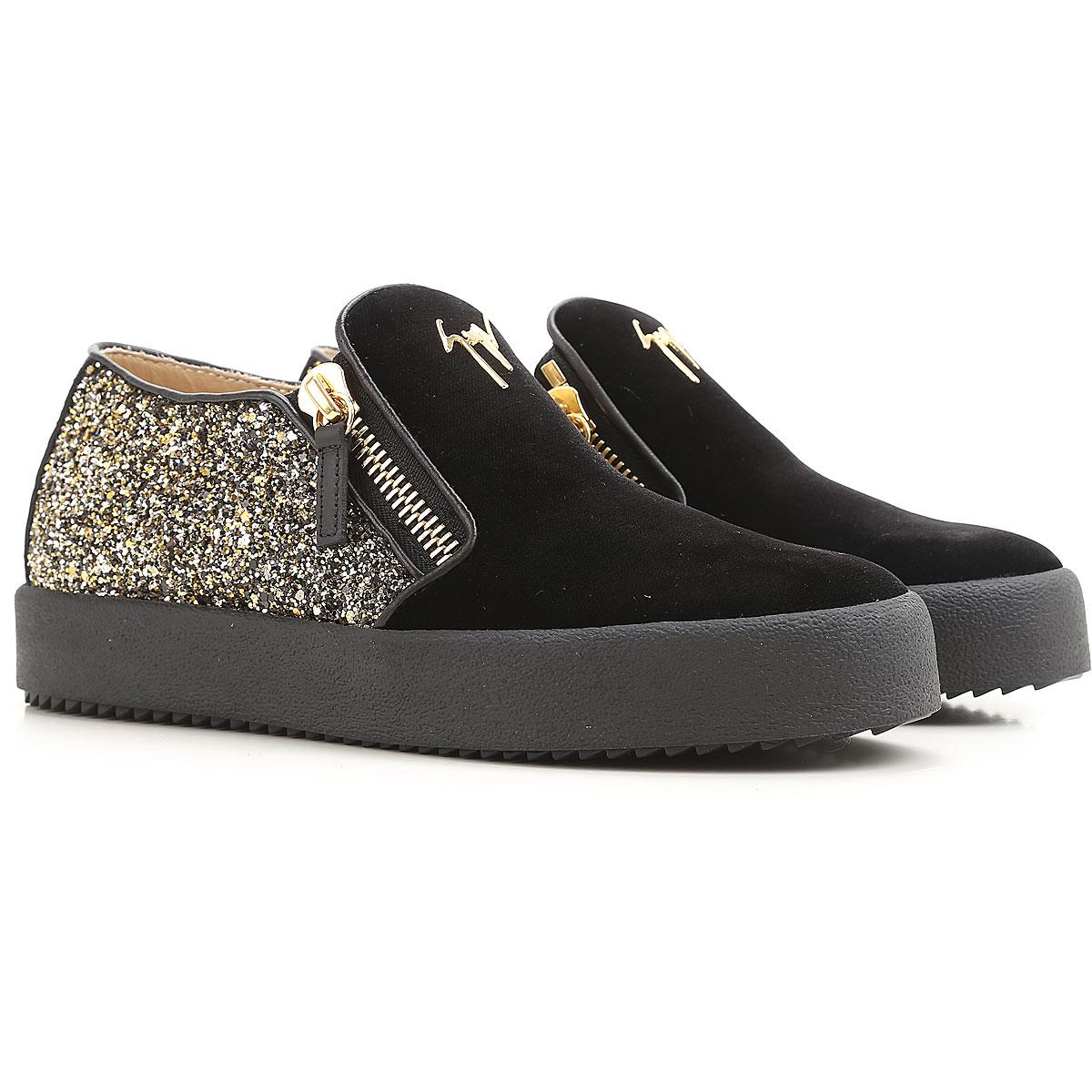 Giuseppe Zanotti Design Slip on Sneakers for Women On Sale in Outlet, Black, Velvet, 2019, 6.5 8