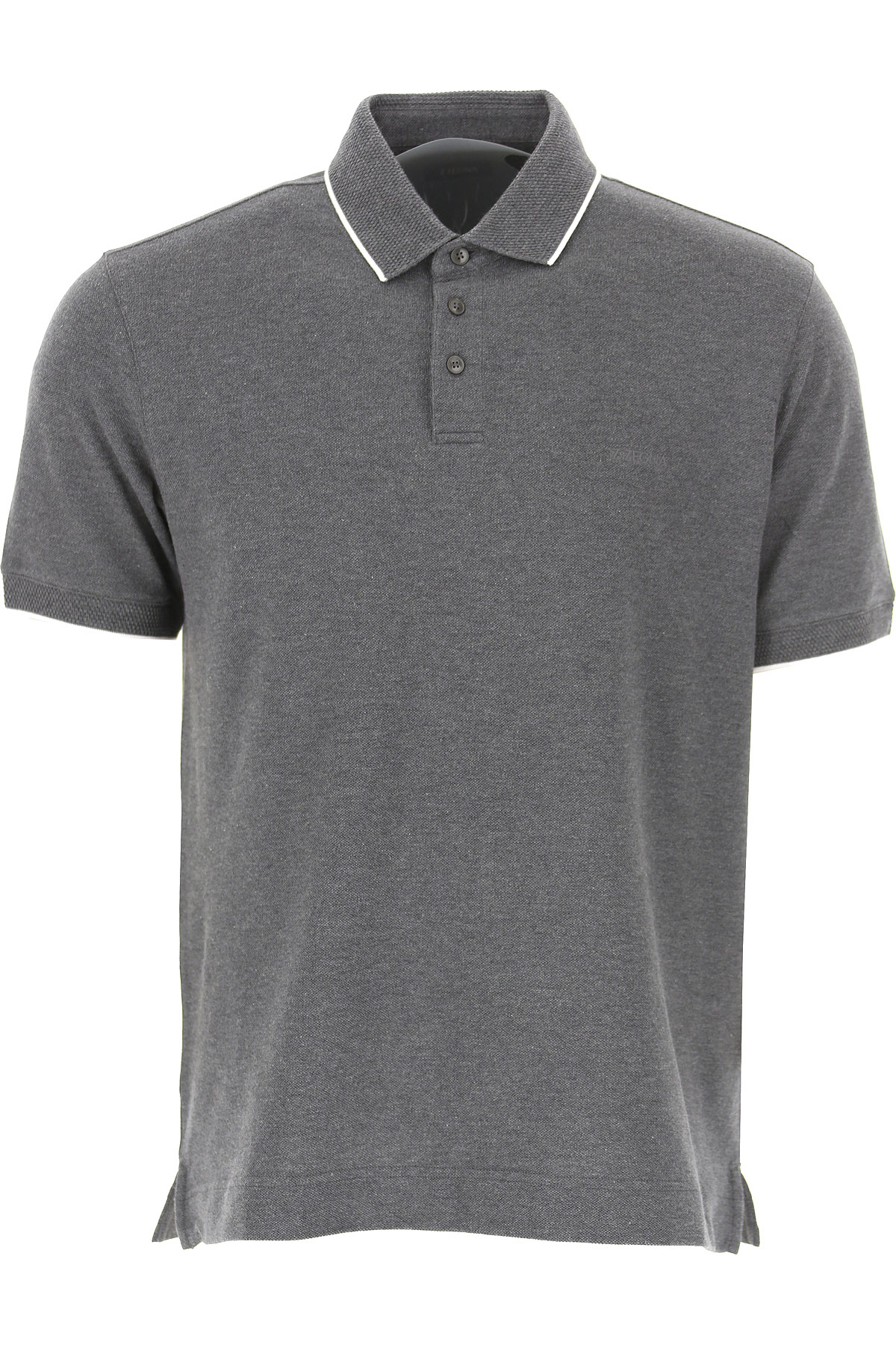 Ermenegildo Zegna Polo Shirt for Men, Medium Grey, Cotton, 2019, M S