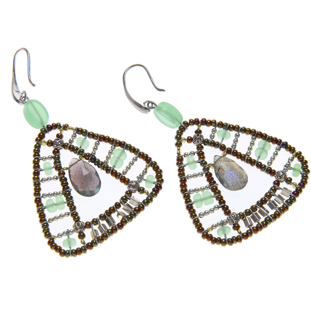 Ziio Jewellery Earrings for Women On Sale, Transparent Light Green, Chrysophrase Hydro, 2019